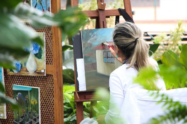 self care for parents - parental burnout - mother paints as a hobby