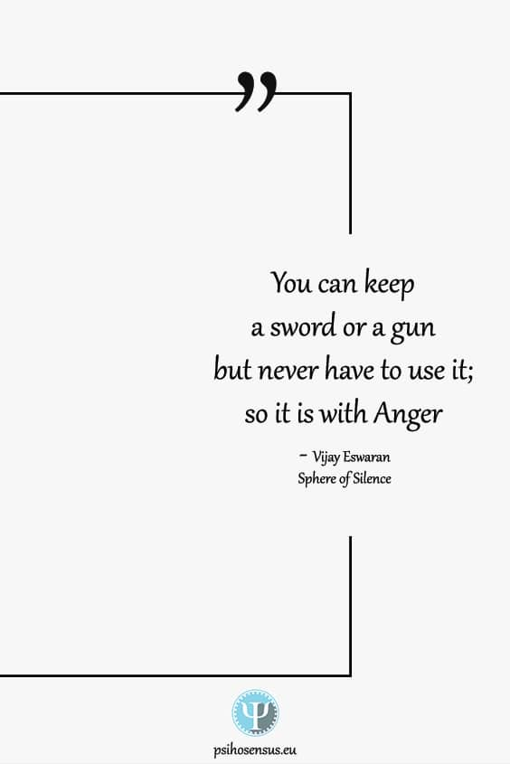 You can keep a sword or a gun and never have to use it. So it is with anger. Vijay Eswaran in Sphere of Silence