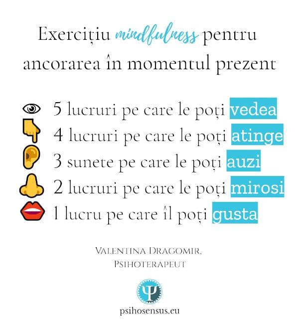 exercitiu 54321 mindfulness pentru ancorare in prezent