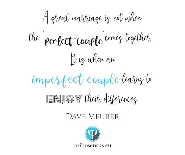 a great marriage is not when a perfect couple comes together, it is when an imperfecr couple learns to enjoy their differences - Dave Meurer