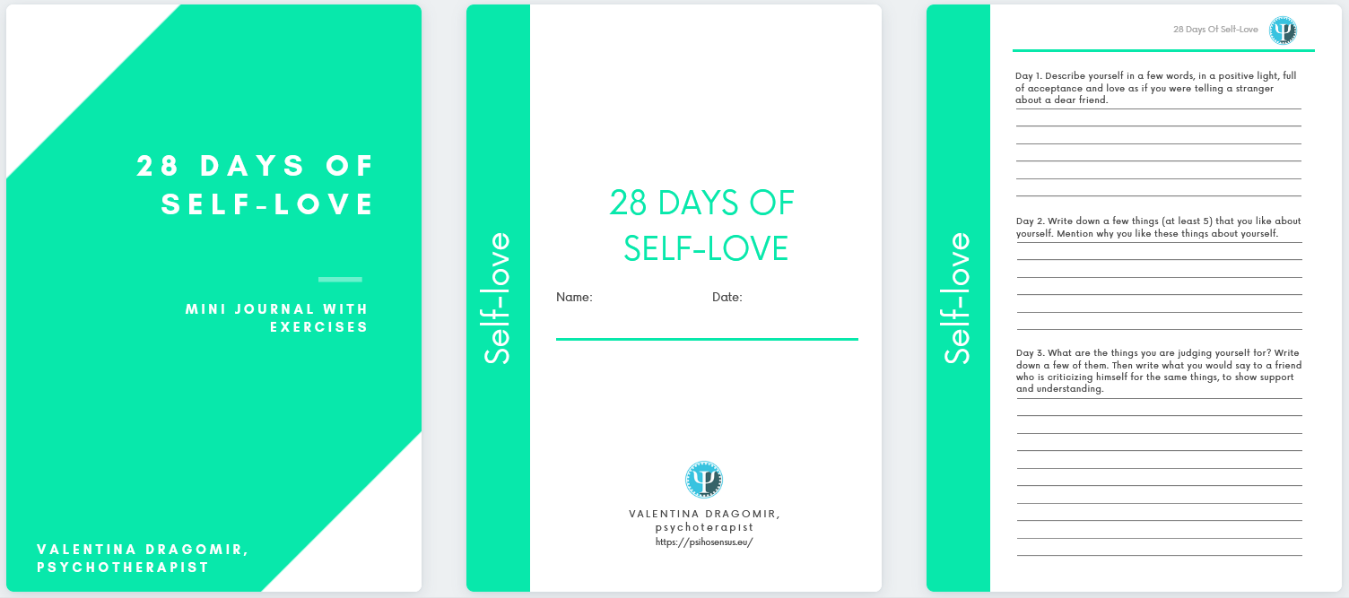 self love hournal with exercises, self love challenge